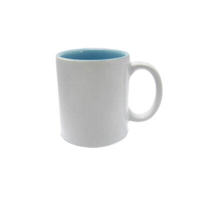 Caneca reta com interior colorido – azul claro