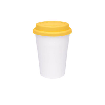 Copo Trip branco 300ml – tampa amarela