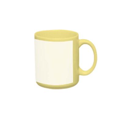Caneca reta 300ml – amarela com tarja branca