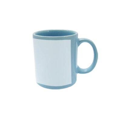 Caneca reta 300ml – azul clara com tarja branca
