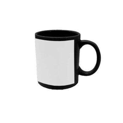 Caneca reta 300ml – preta com tarja branca