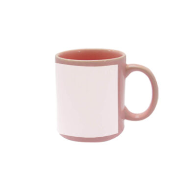 Caneca reta 300ml – rosa com tarja branca