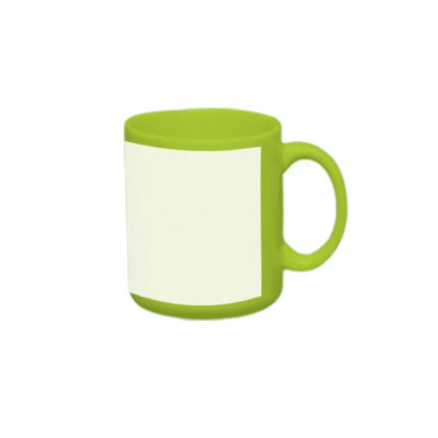 Caneca reta 300ml – verde com tarja branca