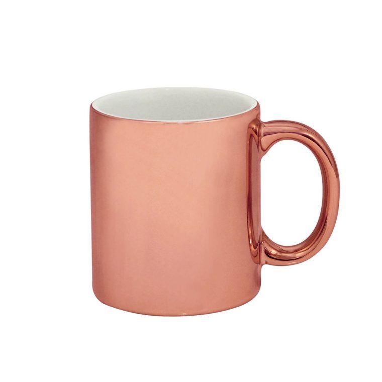 Texto: Caneca cromada rosé para sublimação.