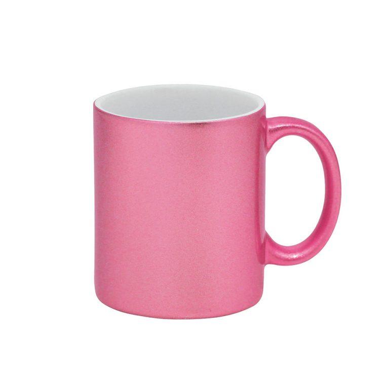 Texto: Caneca glitter rosa para sublimação.