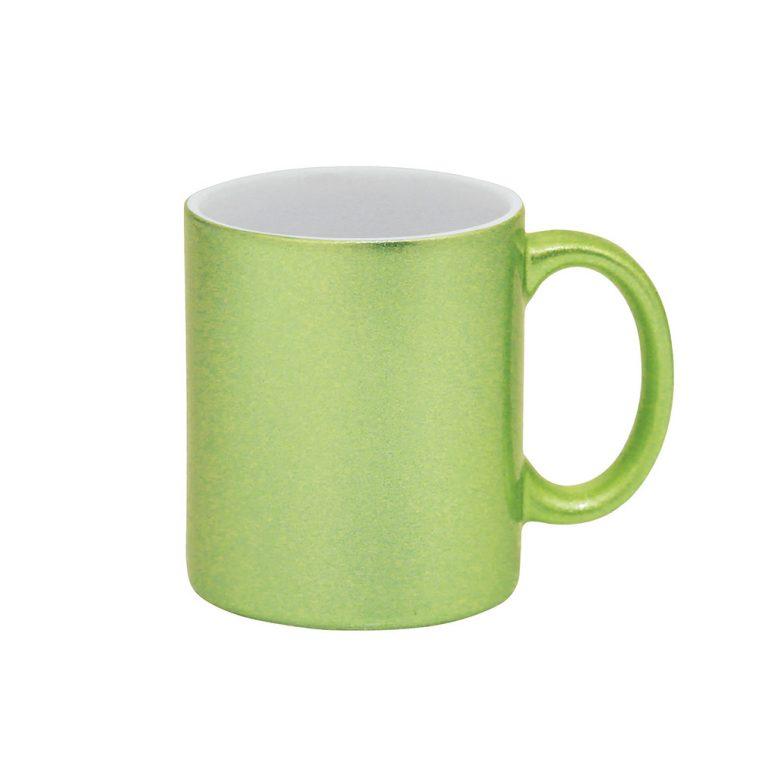 Texto: Caneca glitter verde para sublimação.