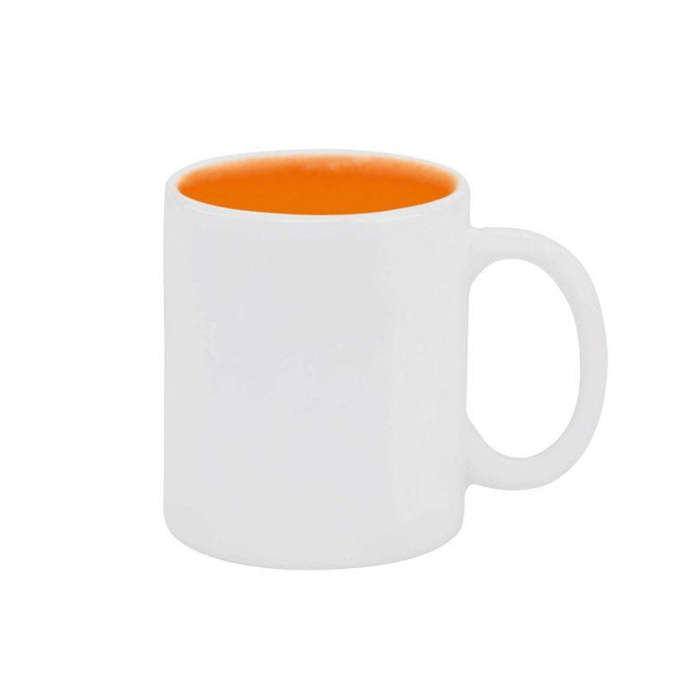 Texto: Caneca reta com interior colorido em laranja para sublimação.