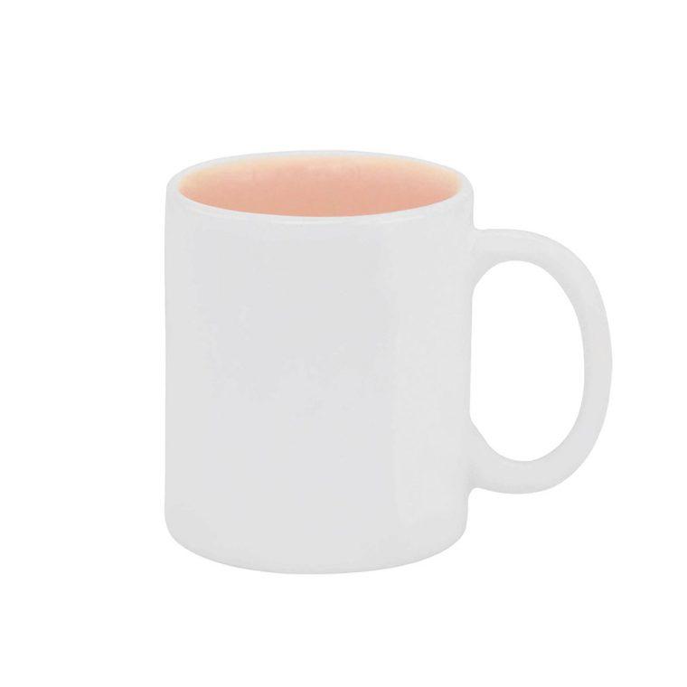 Texto: Caneca reta com interior colorido em rosa para sublimação.