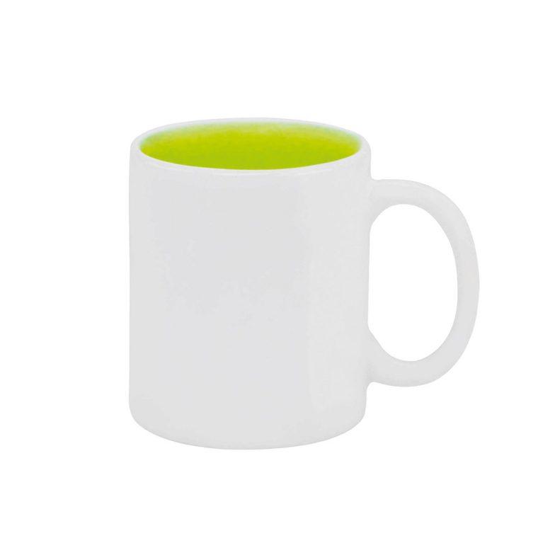 Texto: Caneca reta com interior colorido em verde para sublimação.