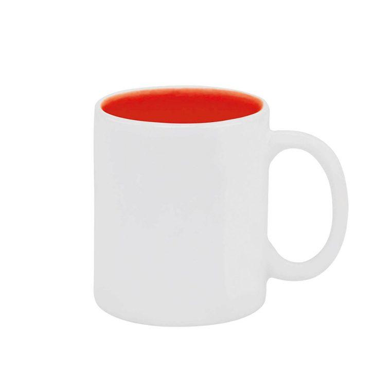 Texto: Caneca reta com interior colorido em vermelho para sublimação.