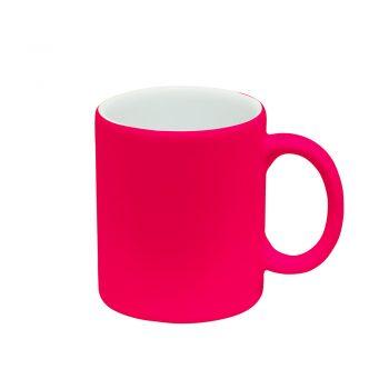 Texto: Caneca reta neon rosa para sublimação.