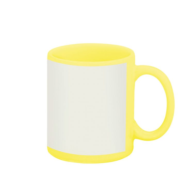 Texto: Caneca reta amarela com tarja branca para sublimação.