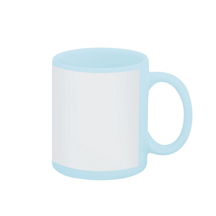 Texto: Caneca reta azul clara com tarja branca para sublimação.