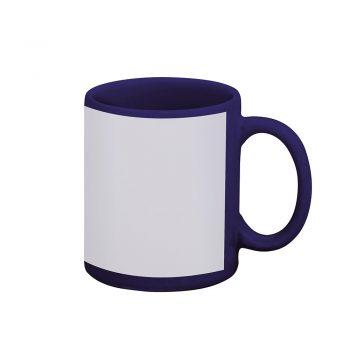 Caneca reta 300 ml – azul escura com tarja branca