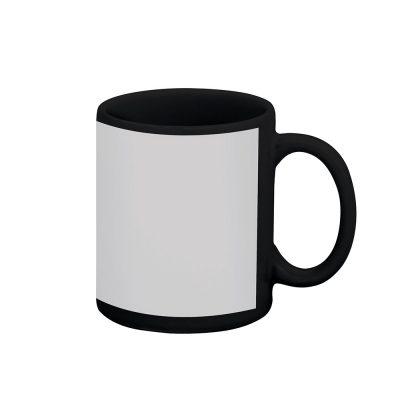 Caneca reta 300 ml – preta com tarja branca