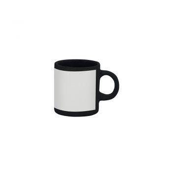 Caneca reta 100 ml – preta com tarja branca