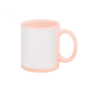 Texto: Caneca reta rosa com tarja branca para sublimação.