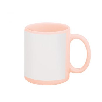 Caneca reta 300 ml – rosa com tarja branca