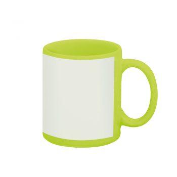 Caneca reta 300 ml – verde com tarja branca