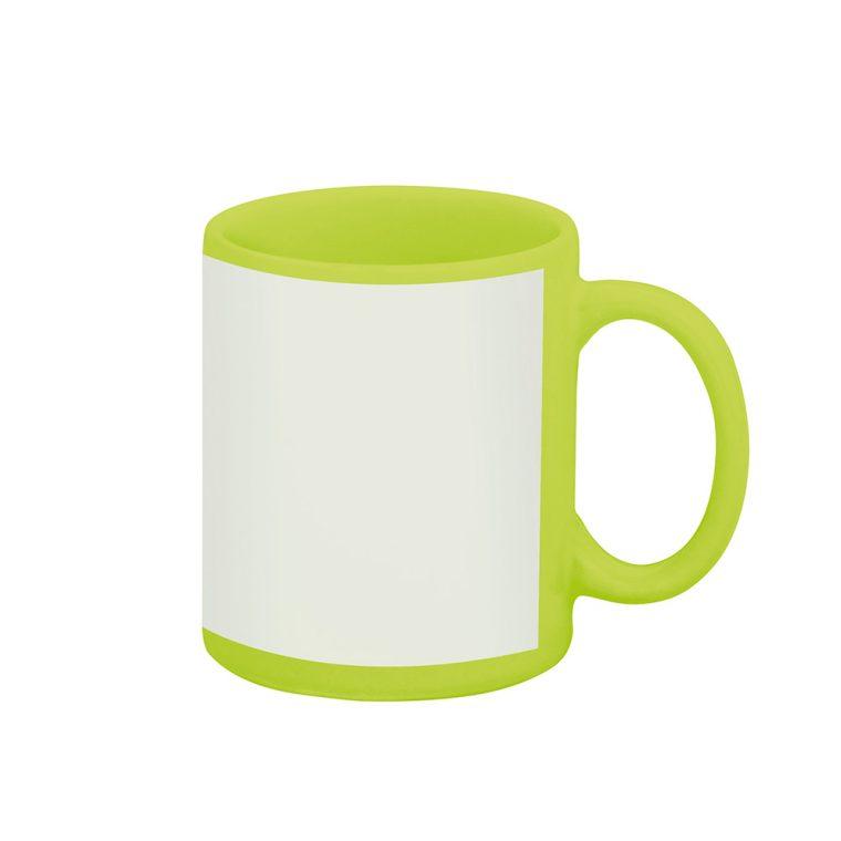 Texto: Caneca reta verde com tarja branca para sublimação.