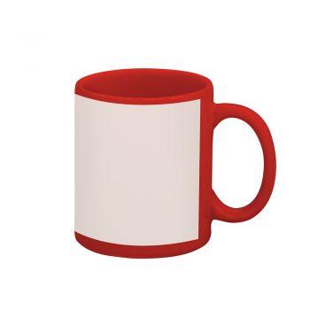 Caneca reta 300 ml – vermelha com tarja branca