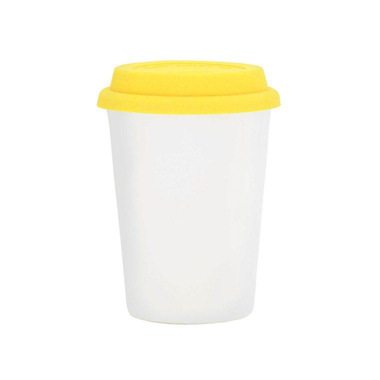 Texto: Copo Trip branco com tampa amarela para sublimação